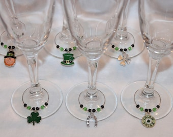St. Patrick's Day Set of 6 Wine Charms Irish Charms Clover Charms
