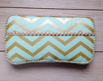 Sage green or baby pink and gold cheveron baby wipe case, baby wipe clutch, diaper bag