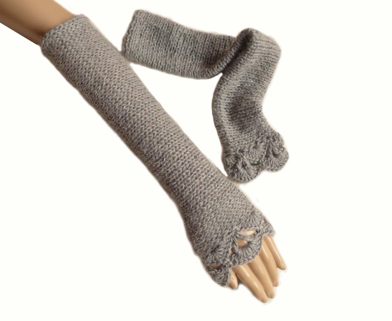 Long Arm Warmers Knitting Pattern : Baby Alpaca Arm Warmers Knit Armwarmers Fingerless by Halunder