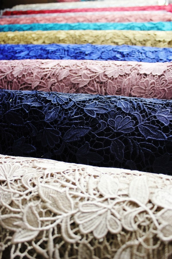 Floral Guipure Lace Fabric Elegant Flower Embroidery