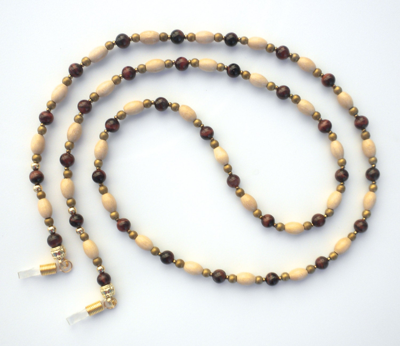 beaded eyeglass chain wood metal glass by beadaments