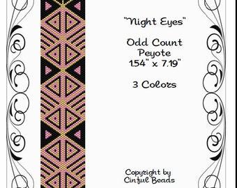 Peyote Bracelet Pattern, Geometric Design using Miyuki 11/0 Delica beads