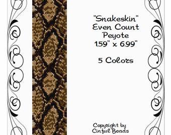 Peyote Bracelet Pattern, Animal Print, Snakeskin using Miyuki 11/0 Delica beads