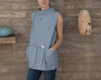 Artist Smock #2 / work shirt / sleeveless tunic with utility pockets in denim and canvas
