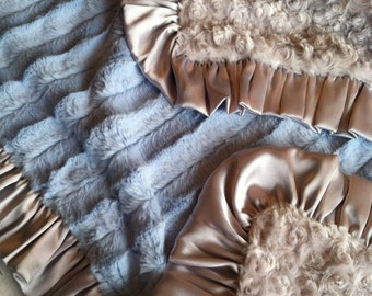 Light Blue Faux Fur Minky Blanket with Silver Rosebud Minky and Silver Satin