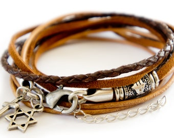 Triple Wrap Bracelet, Multiwrap Leather Bracelet with Cross Charm, Star of David, Hamsa