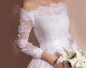 Bridal  lace bolero   Off-Shoulder / French Lace/ wedding jacket/ shrug/  jacket /bridal lace top
