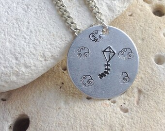 "Flying kite in the sky with clouds picture pendant on 18"" chain."