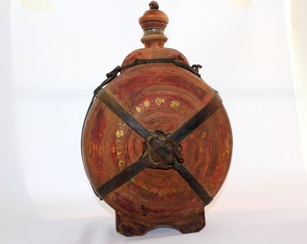 Old Wine Flask Vintage Rustic Folk Art Painted Peasant Brown Yellow Bottle