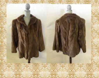 Vintage Fur Coat Jacket Brown Beaver Coat Jacket No.15
