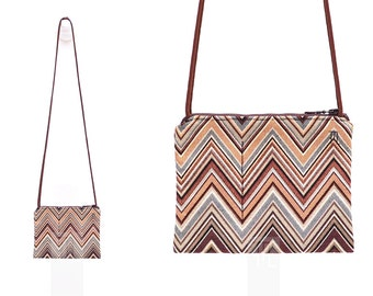 Crossbody bag in brown shades zigzag pattern Gobelin with cocoa paracord shoulder strap.