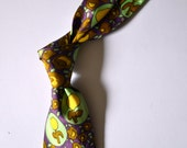 Vtg. 1960's CORSAIR Purple/Gold/Green Abstract Floral Rayon Carnaby Street Style Kipper Tie