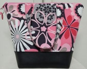 Pink Insulated Lunch Bag, Vinyl Bottom, Starburst, Retro Lunch Bag, Womens, Nylon Lining/ Pocket, Womens Lunch Bag, Lunch Bag, Washable.