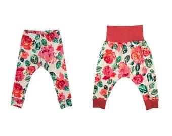 Baby Leggings, Toddler Leggings, Girls Leggings, Baby Harem Pants, Toddler Harem Pants, Yoga Pants, Girls Floral Pants, Pixelated Rose