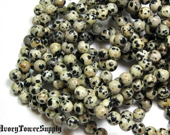 1 Strands 6mm Dalmation Jasper Beads, Gemstone Beads, Natural Stone Beads, Semi Precious Beads, Black Beads, White Beads, Round Beads