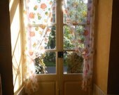 1970s Swags White Curtains with Orange Flowers and Tiebacks French Vintage