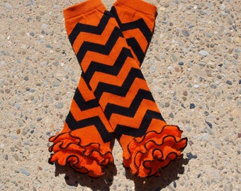 Leg Warmers - Orange & Black Chevron with Ruffle Bottom