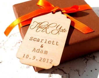 Wedding favor tags, rustic personalized thank you tags, custom engraved gift tags, set of 25