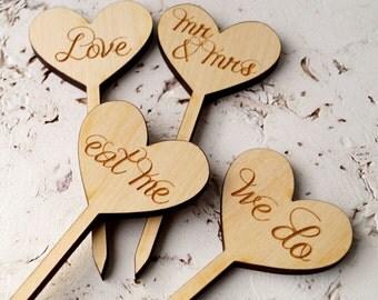 Wedding cupcake toppers, rustic wooden cupcake toppers, cupcake picks, rustic woodland wedding diy, set of 12