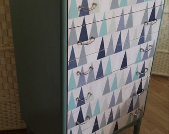SOLD Blue Triangles Mid Century Drawer Unit