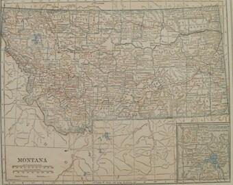 Montana Map,Billings Bigfork Helena Yellowstone Great Falls,Vintage State Map,USA Atlas State Maps,Place on the World Map,1927 8x10 VS18