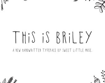 Hand written font -Briley FONT - instant download - typeface