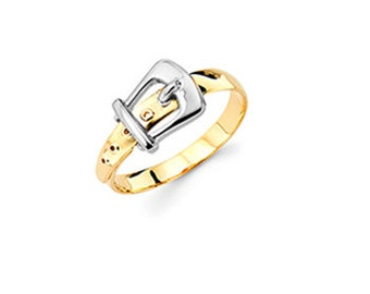 14K Two Tone White and Yellow Gold Buckle Ring, Two Tone Buckle Ring, Buckle, Belt Buckle Ring, Two Tone Ring, Buckle Jewelry