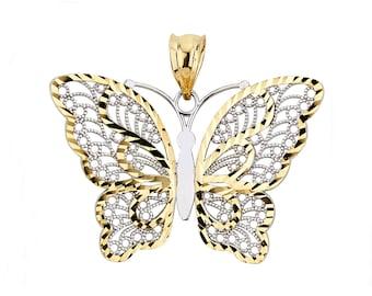 14K Two-Tone Butterfly Pendant, Butterfly Pendant, Butterfly Jewelry, Gold Butterfly, Two-Tone Butterfly, Womens Jewelry, Butterfly