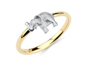 14K Two-Tone Elephant Ring, Elephant Ring, Elephant Jewelry, Two-Tone Ring, Two-Tone Jewelry, Animal Jewlery, Gold Elephant, Gold Ring