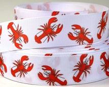 """1"""" Crawfish - Lobster Nautical Printed Grosgrain Ribbon"""