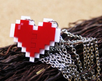 Pixel Heart Necklace - Couple Pixel Heart Necklace [White-Red]
