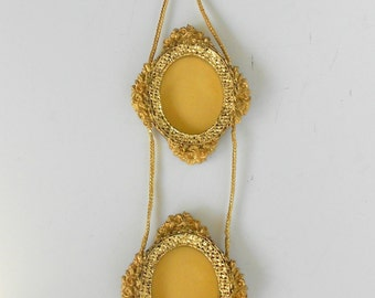 Pair of Oval Wall Mirrors,Small Wall Oval Mirrors Set,Decorative Oval Mirrors,Distressed Oval Gold Wall Mirror,Oval Gold Framed Mirrors