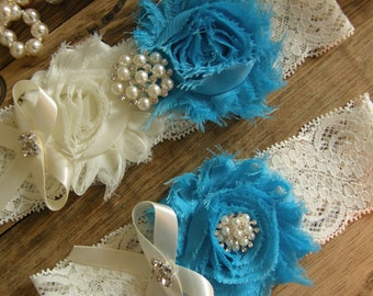 Something Blue / Garter / Wedding Garters / Bridal Garter / Toss Garter / Vintage Inspired Lace Garter / Wedding Garter Set