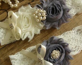 Ivory & Gray Wedding Garters / Ivory / Gray / Lace Garter / Bridal Garter / Toss Garter  / Vintage Inspired
