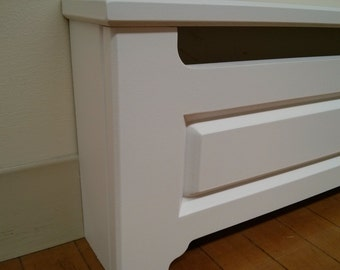 Custom Made To Order Baseboard Heater Covers. V shaped raised panel.  Quality covers and a great value.
