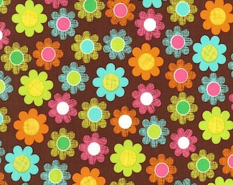 Michael Miller-Hatch Patch CX5963-  Fabric- 1/2 yard--Brown with Flowers