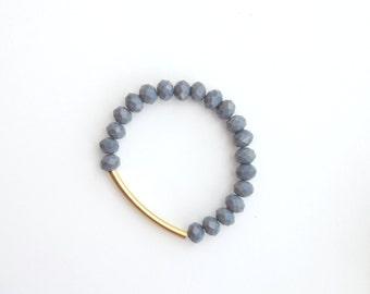 Gray glass beads bracelet. Statement Bracelet