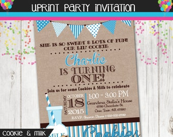 Milk & Cookies Birthday Party Invitation-  Printable - Custom