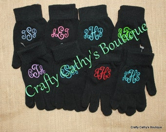 Monogrammed Black Knit Gloves One Size Fits Most