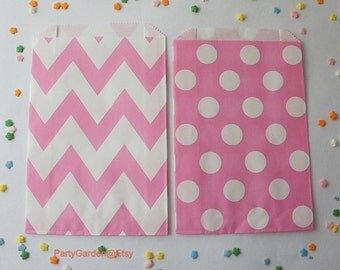 20 Hot Pink Chevron or Polka Dot Party Favor Bags - Treat Candy Baking Gifts Cookies