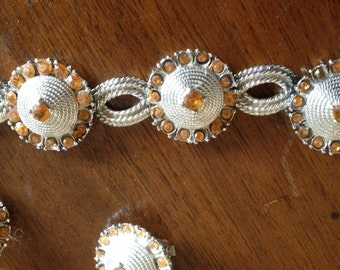 Vintage Costume Jewelry in Silver and Orange-Bracelet and earring set