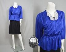 Vintage 80s Peplum Dress Lace Collar Royal Blue Wiggle Dress Gathered Dress Secretary Dress Satin Striped Fabric Pencil Skirt 1980s Fashion