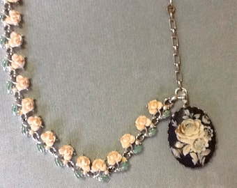 Vintage Rose Salvaged Necklace