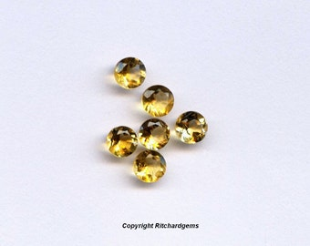 AAA Semi Precious 4 mm Round Faceted  Natural Brazilian Golden Citrine for Two