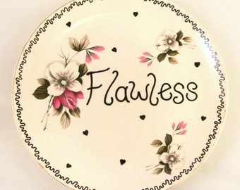 Flawless Vintage Side Plate Decorative Gift for Her Floral Pink Ring Holder Trinket Dish Wall Display Upcycled Love Hearts Saucer Retro Pink