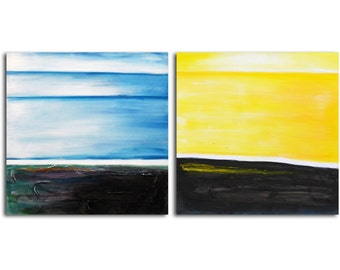 "Hand painted Acrylic Painting set of 2 - 32"" x 64"" Gallery wrapped and stretched canvas art, abstract, textured , figure, modern painting"