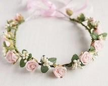 Blush Bridal Crown, Woodland Rose Crown, Boho Head Wreath, Flower Girl Crown, Blush Pink Halo, Bridal Crown, Flower Girl Halo, Toddler Crown