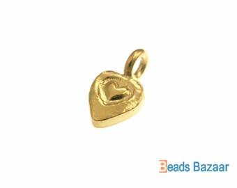 Karen Hill Tribe silver Gold vermeil Heart Engrave Flat Heart Charm, 11 mm ( 8 pieces )