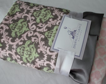 Minky Cuddle Romance Vine Damask Charcoal, Baby Pink, Mint with Pink Lattice & Charcoal Satin - Baby Shower, Nursery, Crib Bedding