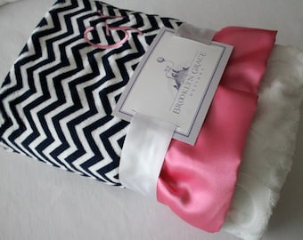 Navy and White Mini Chevron with White Embossed Vine on Reverse with Pink Satin Trim - Baby Blanket - Baby Girl, Crib Bedding, Nautical